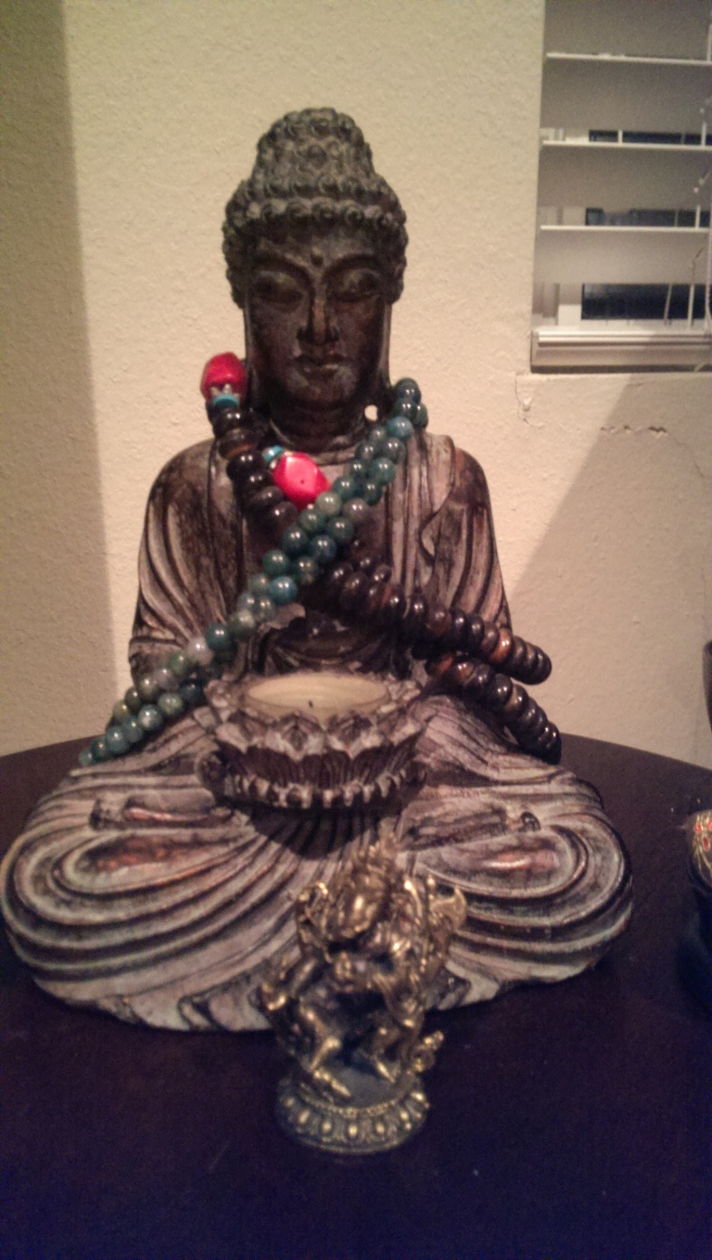 This Buddha sits in my bedroom on my meditation table