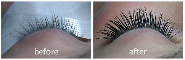 Before and After images of Lash Extensions