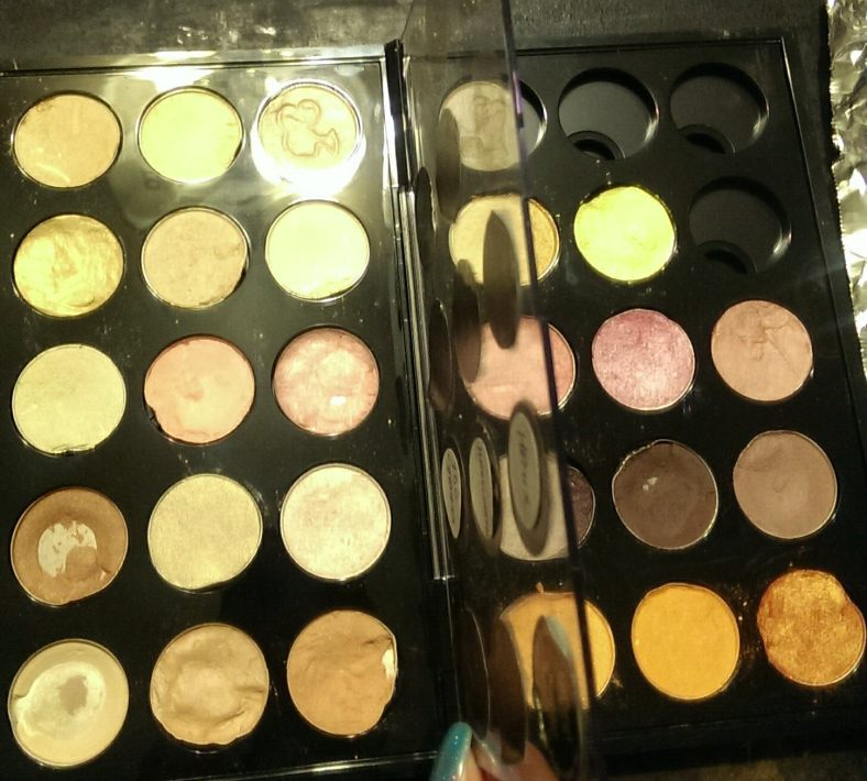 The first palette I attempted.  No more MAC palette nonsense for me!  I got rid of this MAC palette duo, and switched to Makeup Forever palette tins, which are great for the standard MAC eye shadow pans.  The Z-Palette brand is excellent for pressed pigments and domed makeup pans.