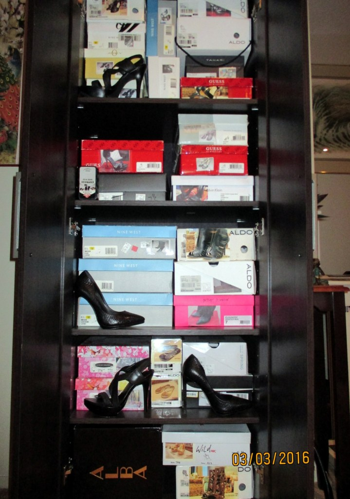 34 pairs of shoes are in this cabinet.  And yes, I have photos of each pair of shoes on the face of most of the boxes to make them easily identifiable.